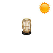 PatioGlo Solar Powered Table Lamp - White LED with Bamboo Cover