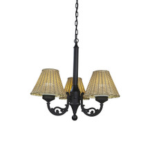 Versailles Chandelier - Black Base with Stone Wicker Lamp Shades - CD