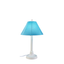 "San Juan 34"" Table Lamp - White Base with Canvas Aruba Sunbrella Fabric Lamp Shade"