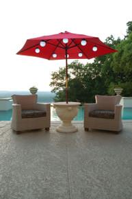 Solar Powered White LED Globe String & Umbrella Lights - 8 Globes