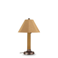 "Bahama Weave 34"" Table Lamp -  Mocha Cream 3"" Wicker Body with Linen Straw Sunbrella Fabric Lamp Shade"