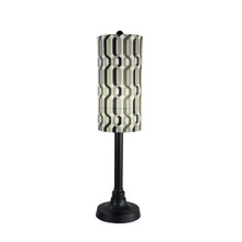 "Coronado 42"" Table Lamp - Black Base with New Twist Caviar Outdoor Pattern Fabric Lamp Shade"
