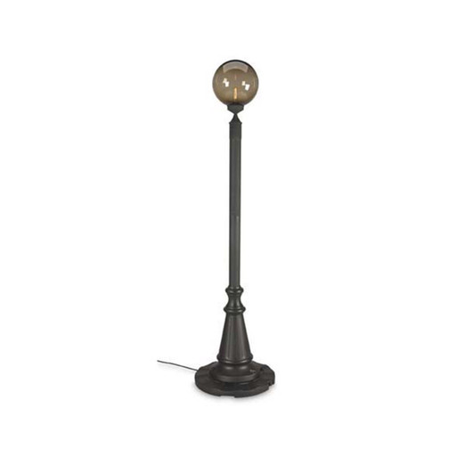 European Single Globe Patio Lamp with bronze globes and black lamp base finish
