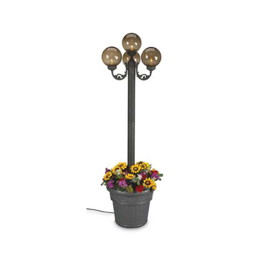 European Four Globe Park Style Planter Lamp with bronze globes and black lamp base finish