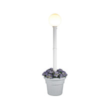 Milano Planter Lamp - White Base with White Globe and Granite Colored Resin Planter