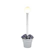 Milano Planter Lamp - White Base with White Globe and Granite Colored Resin Planter