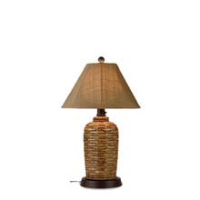 South Pacific Table Lamp - Woven Bamboo Resin Base with Linen Sesame Sunbrella Fabric Lamp Shade