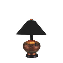 Phoenix Table Lamp - Copper Base with Black Canvas Sunbrella Fabric Lamp Shade