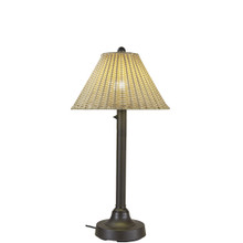 "Tahiti II 34"" Table Lamp - Bronze Base with 2"" Body and Stone Wicker Lamp Shade"