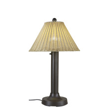 "Tahiti II 34"" Table Lamp - Bronze Base with 3"" Body and Stone Wicker Lamp Shade"