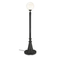 European Single Globe Patio Lamp - White Globe with Black Base
