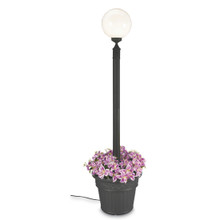 European Single Globe Planter Lamp - White Globe with Black Finish