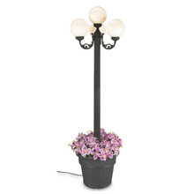 European Four Globe Park Style Planter Lamp - White Globes with Black Finish