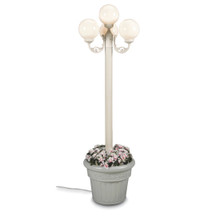 European Four Globe Park Style Planter Lamp - White Globes with White Finish