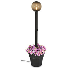 Milano Planter Lamp - Black Base with Bronze Globe and Iron Colored Resin Planter