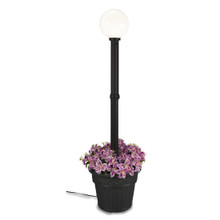 Milano Planter Lamp - Black Base with White Globe and Iron Colored Resin Planter