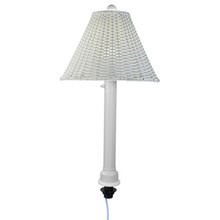 Umbrella Table Lamp - White Body with White Wicker Lamp Shade