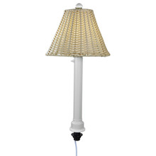 Umbrella Table Lamp - White Body with Stone Wicker Lamp Shade