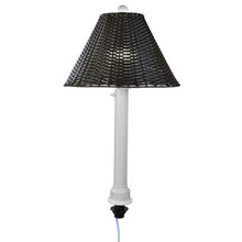 Umbrella Table Lamp - White Body with Walnut Wicker Lamp Shade