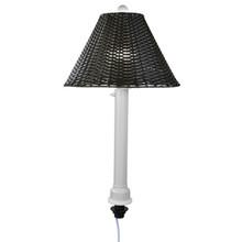 Umbrella Table Lamp - White Body with Walnut Wicker Lamp Shade