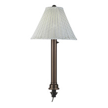 Umbrella Table Lamp - Bronze Body with White Wicker Lamp Shade