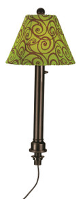 Umbrella Table Lamp - Bronze Body with Green Outdoor Pattern Fabric Lamp Shade