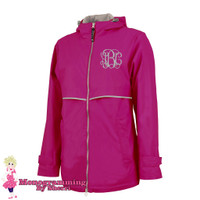 Charles River Women's New Englander Rain Jacket (Hot Pink)