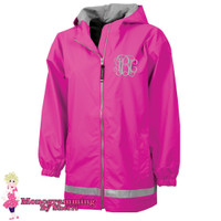Charles River Youth New Englander Rain Jacket (Hot Pink)