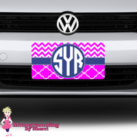 Chevron and Quatrefoil Initial License Plate