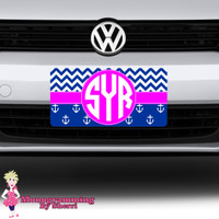 Chevron and Anchor Initial License Plate