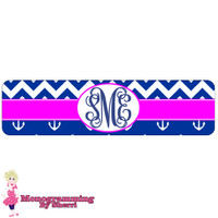 Chevron & Anchor (Navy & Pink) Cuff Bracelet