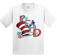 He perfect shirt for dr. Seuss day! This is a digitally imprinted and can be printed on white, silver or heather gray shirts. This shirt is unisex so it is true to size,