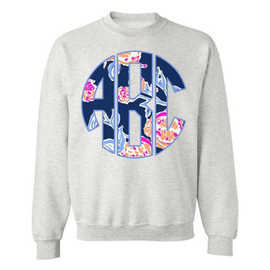 In the spirit of Lilly P, this pullover crew neck is designed to up any gloomy day. Make sure you always live on the bright side of life- and Monogram you can get your hands on! This item is standard unisex fit - please reference size chart.
