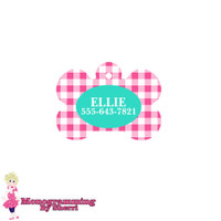 Personalized Pink Gingham Bone Pet Tag
