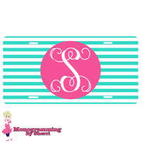 Personalized License Plate Mint Stripe