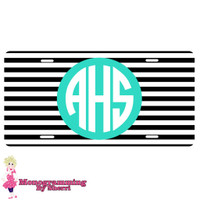 Personalized License Plate Black Stripe
