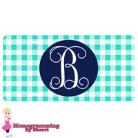 Personalized License Plate Mint Gingham