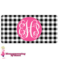 Personalized License Plate Black Gingham
