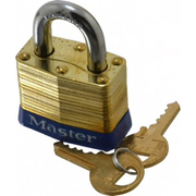 "Master Lock® - Padlocks - 3/4"" Shackle Clearance, Keyed Different Laminated Brass Padlock"