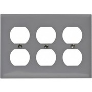 HUBBELL® - Wall Plates - 3 Gang, Outlet Wall Plate
