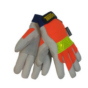 Tillman™ - Gloves - Gray, Orange and Yellow Reflective TrueFit™ Pigskin Thinsulate™ Lined Cold Weather Gloves 2X
