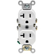 Leviton - Electrical Switch - 20A 125V Straight Blade DUP Receptacle White - CA of 50