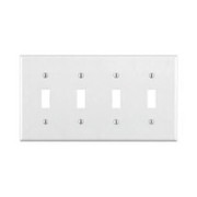 Leviton - Switch - 4 Gang Switch Plate White