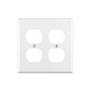 Leviton - Switch - 2 Gang DUP Receptacle Plate White