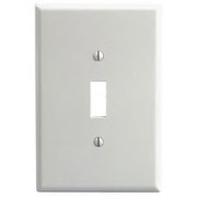 Leviton - Switch - 1 Gang Toggle DEV Switch Wallplate O-SIZE White