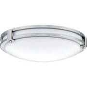 "Lithonia Lighting - Fixture - 3-1-8"" 3500k 1-Light Compact Fluorescent Semi-Flush Ceiling Fixture in Brushed Nickel"