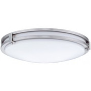 "Lithonia Lighting - Fixture - 3-1-4"" 3500k 1-Light Compact Fluorescent Semi-Flush Ceiling Fixture in Brushed Nickel"