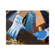 SHOWA® - Gloves - Glove Size 9 Blue Atlas® Fit 300 Natural Rubber Palm Coated Work Gloves with Light Gray Cotton Polyester Lining, Knit Wrist and Rough Finish - PK of 12 PR