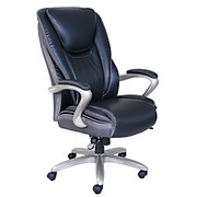 """Serta® - Big & Tall Chair - Smart Layers™ Hensley Executive, 47"""" h x 28 1/4"""" w x 34"""" d - Supports Users Up to 400 lb - Leather Black/Silver"""