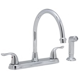 PROFLO® - Kitchen Faucet - 4-Hole Kitchen Faucet with Double Lever Handle  and Sidespray in Polished Chrome